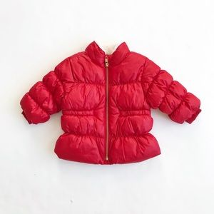 Old Navy red puffer coat  EUC 3-6 months